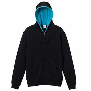 ユナイテッドアスレ 10.0オンス スウェットフルジップパーカ(パイル) [カラー:ブラック×ターコイズブルー] [サイズ:S] #5213-01-2072