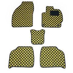 送料無料 天野 AMANO ファミリア セダン 年式:H10〜H15 (4WD) フロアマット一式 チェック [カラー:ブラック×ホワイト] カー用品