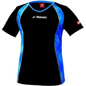 16%OFF 送料無料 ニッタク Vチェックスシャツ 卓球ウェア [カラー:ブラック×ブルー] [サイズ:L] #NW-2164-01 NITTAKU