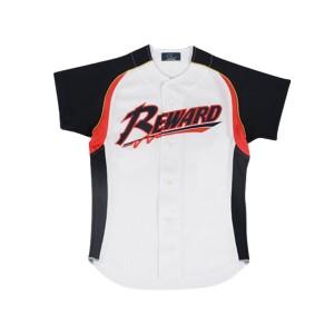 フロントオープンメッシュシャツ ジュニア 野球ユニフォームシャツ [カラー:ホワイト×レッド×Dネイビー] [サイズ:140] #JUS-29