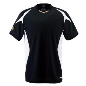 デサント DESCENTE 野球用(ジュニア) ベースボールシャツ [カラー:ブラック×Sホワイト×Sゴールド] [サイズ:150] #JDB-116