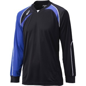アシックス バレーボール用 ゲームシャツLS XW1319 [カラー:ブラック×ブルー] [サイズ:150] #XW1319 ASICS 送料無料 7%OFF