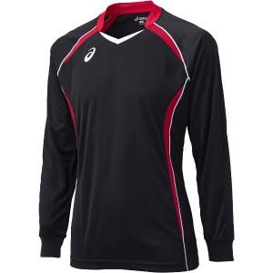 アシックス バレーボール用 ゲームシャツLS XW1320 [カラー:ブラック×Vレッド] [サイズ:SS] #XW1320 ASICS 送料無料