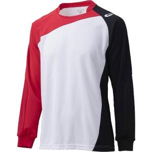 アシックス バレーボール用 ゲームシャツLS XW1322 [カラー:ホワイト×Vレッド] [サイズ:140] #XW1322 ASICS 送料無料 5%OFF