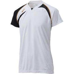 7%OFF 送料無料 アシックス バレーボール用 ゲームシャツHS XW1318 [カラー:ホワイト×ブラック] [サイズ:150] #XW1318 ASICS