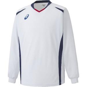 送料無料 アシックス サッカー用 ゲームシャツLS XS1141 [カラー:ホワイト×ネイビー] [サイズ:XO] #XS1141 ASICS