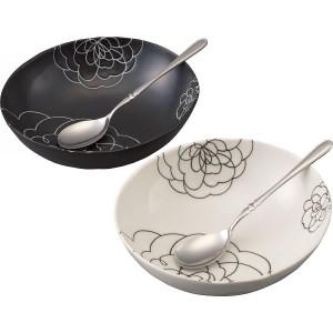 皿モダニズムローズ ペアボウルセット スプーン付食器 器 キッチン用品/T-9010703
