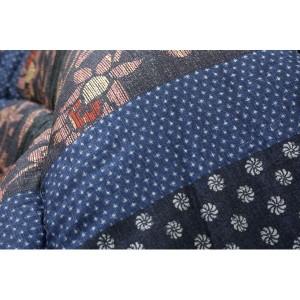 国内プリント こたつ厚掛け敷布団セット 『万葉』 ブルー 205×315cm