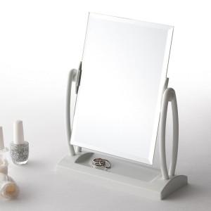 スクエア卓上ミラー(ホワイト/白) 飛散防止加工/角度調整可/ノンフレーム/収納トレイ付き/鏡/カガミ/飾りミラー/完成品/NK-266