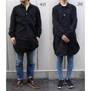 スウェーデン軍放出 プルオーバースリーピングシャツ後染め未使用デットストック ブラック40(メンズフリー相当