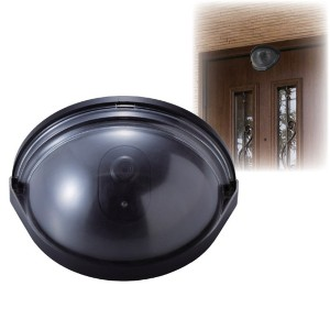 ドア用防犯ダミーカメラ 乾電池式/赤色LED付き 防水性 〔防犯対策用品〕