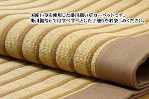 純国産/日本製 掛川織 い草ラグカーペット 『剣ヶ峰』 ブラック 約200×250cm