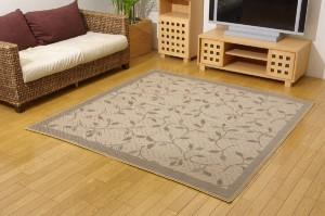 麻混カーペット 『DXプラード』 アイボリー 江戸間2畳 174×174cm(裏:不織布) 正方形