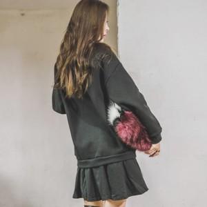 【op15785】まるでトレーナーとスカートを重ね着したようなユニークワンピ♪レイヤード風スパンコールトレーナーワンピース