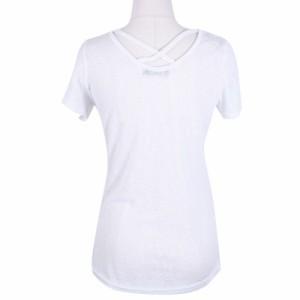 【ts17217】【メール便送料180円対応商品】一枚あれば大活躍間違いなし♪背中クロスラウンドネック無地半袖Tシャツ