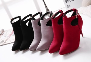 【SALE/セール】ブーティ ブーツ サイドベルト ポインテッドトゥ シューズ レディース フェイクレザー スエードタッチ 合成皮革 HYL07