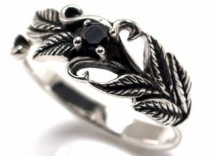 【指輪】シルバー925リング◆ユニセックス用◆ブラックCZxリーフ&アラベスクモチーフ【ri lwb sv ko cow】