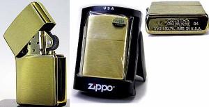【ZIPPO】ソリッドブラス・ブラッシュジッポー(ロゴ無し) 真鍮無垢#204B【ジッポーライター ZIPPO】