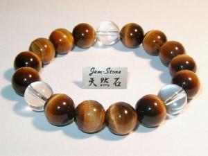 12mmブレスレット最高品質天然石虎目石&水晶