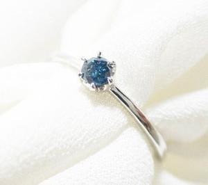 【お届け3週間】一粒のブルーダイヤリング(プラチナ900):送料無料