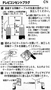 アンテナ部品:「TVコンセントプラグ」コンセントから電波を取り出せるプラグです。HP-7A-B