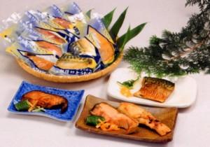うおや特製切身24切セット【化粧箱入】(塩引鮭・鮭味噌漬・銀鱈・鯖)