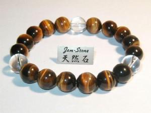 10mmブレスレット最高品質天然石虎目石&水晶