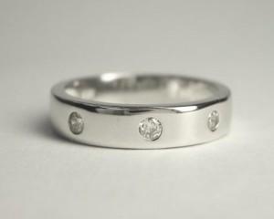 シンプルデザインのダイヤ入りK18WGピンキーリング K18:送料無料