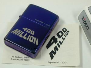 限定ジッポーZippo 4億個達成記念 400 Million 2003.9.3 by ムード・インディゴ・新品