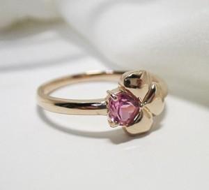 四つ葉のピンク&ピンク★K18ピンクゴールドリング