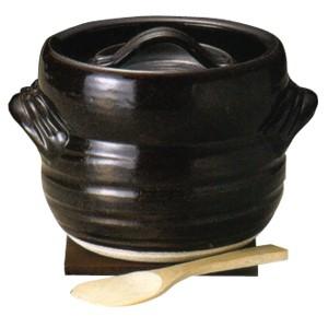 窯変天目3合炊きご飯釜 敷板・へら付■おこげも美味しい自宅で簡単「銀シャリ」ご飯