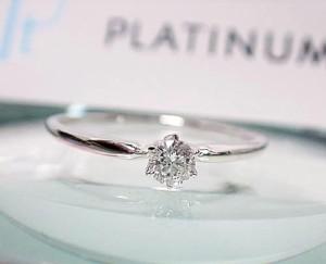 一粒 ダイヤモンド プラチナ900 リング Pt900:お届け:3週間