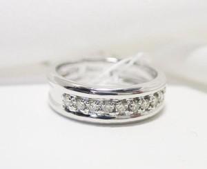 0.1ctダイヤモンドのK18WGピンキーリング:送料無料
