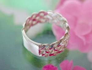 シンプルメッシュシルバーリング☆銀の指輪