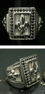 SV ブラックジルコニア ユリの紋章 リング9-23号