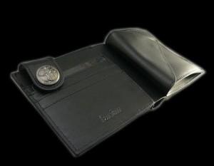 【送料無料】【farian】ブラック馬毛短二つ折り財布 CL-310BK