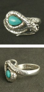 送料無料 ターコイズを守る蛇シルバーリング 7〜23号 ヘビの指輪 スネーク