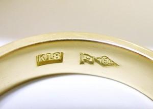 【男女兼用】造幣局刻印入り アンティーク18金リング:幅4mmOR6mm