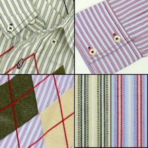 アーガイル柄(フェルト&刺繍)ストライプ長袖シャツ