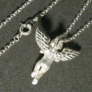 天から舞い降りた天使シルバーネックレス (チェーン付きペンダントトップ) 送料無料 /レディース 女性 エンジェル 925