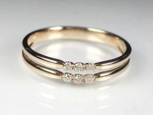 繊細な2ライン♪18金ピンクゴールドダイヤモンド...