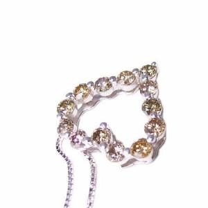 1.09ct 天然 ブラウン ダイヤ ハート ネックレス K18WG ケース&保証書付 送料無料 誕生日プレゼント ギフト