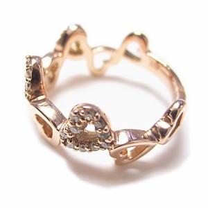 K18*ピンクゴールド天然ダイヤモンド0.15ctハート×ハートピンキーリング『ジュエリーケース付』 送料無料 クリスマス ギフト