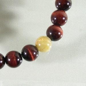 8.5mm 19.5cm 天然石 赤トラ目石(レッドタイガーアイ)ルチルクォーツブレスレット/メンズL、レディースLL