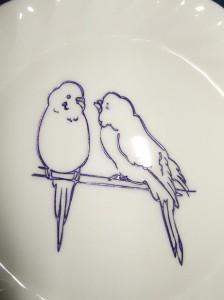 ★可愛いラブラブなインコ陶器絵皿♪結婚祝・誕生祝・クリスマスプレゼントにも♪
