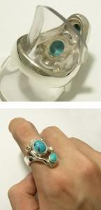 トルコ石3ストーンシルバーリング 7〜23号【送料無料】指輪/メンズ/レディース/シルバー925/大きいサイズ