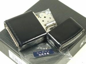 Zippoジッポー革巻きコードバン無地皮革レザー黒