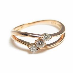 K18 ピンクゴールド天然ダイヤモンド0.1ctエレガンスピンキーリング『ジュエリーケース付』 送料無料 誕生日プレゼント ギフト