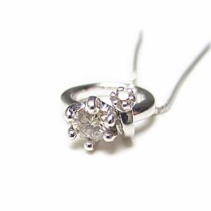 K18WG*4月誕生石ダイヤモンドベビーリングトップネックレス当店保証書付* 送料無料