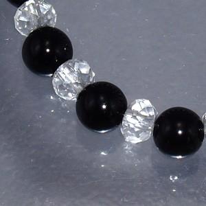 オニキス・カット水晶ブレスレット 8mm (メンズM〜L、レディースL〜LLサイズ) 天然石・パワーストーン